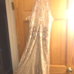 Beige beaded Adrianna Papell gown. Worn once